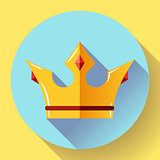 Gold crown with rubies. Flat design style.