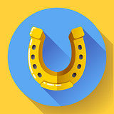 Vector Golden Horseshoe icon. Flat design style.