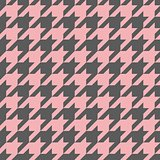 Houndstooth vector seamless pastel pink and grey pattern or background