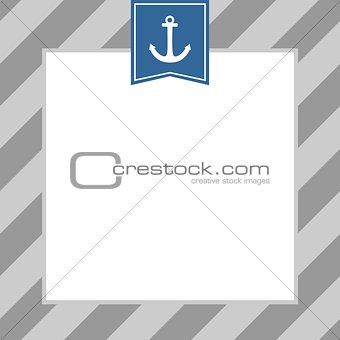 Anchor on white and grey stripes background