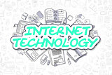 Internet Technology - Doodle Green Word. Business Concept.