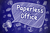 Paperless Office - Cartoon Illustration on Blue Chalkboard.