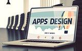 Apps Design on Laptop in Conference Room. 3D.
