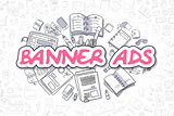 Banner Ads - Cartoon Magenta Word. Business Concept.