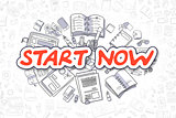 Start Now - Cartoon Red Text. Business Concept.
