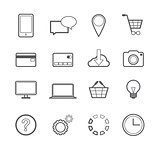 Web Shopping Online Vector Line Icons