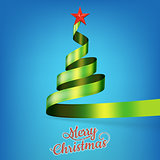 Christmas tree from green ribbon and star. EPS 10