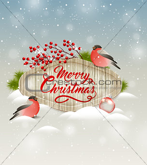 Christmas banner with bullfinches