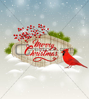 Background with red berries and cardinal