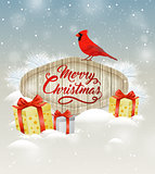 Background with gifts and cardinal bird.