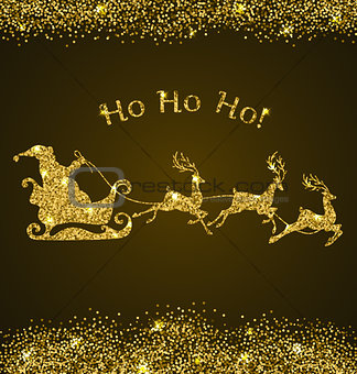 Card with golden Santa Claus