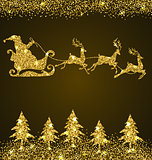 Golden glitter firs and Santa Claus
