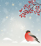Winter landscape with bullfinch