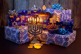 Jewish holiday Hanukkah Beautiful Chanukah decorations in blue and silver with gifts