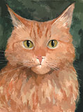 Portrait of the red cat. Watercolor background