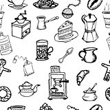 Hand-drawn outlines on coffee and tea cup. Cafe or restaurant.