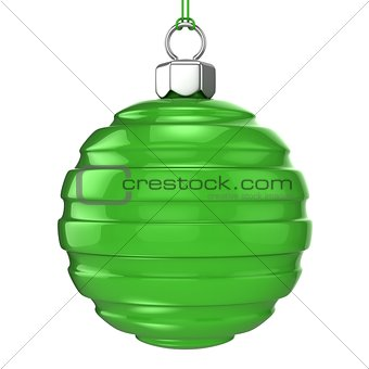 Green Christmas ball isolated on white background. 3D