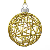 Gold Christmas wire ball. 3D