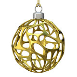 Gold perforated Christmas ball. 3D