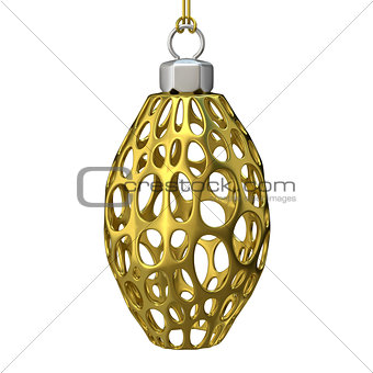 Gold Christmas ornament. 3D