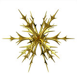 Gold Christmas snowflake ornament. 3D