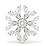 Ornamental, white snowflake. 3D