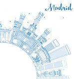 Outline Madrid Skyline with Blue Buildings and Copy Space.