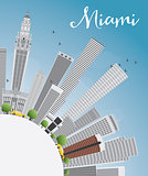 Miami Skyline with Gray Buildings, Blue Sky and Copy Space.