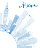 Outline Miami Skyline with Blue Buildings and Copy Space.