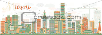 Abstract Miami Skyline with Color Buildings.