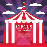 Circus Tent with Rays, Cloud and Copy Space.