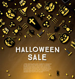 Halloween sale banner with pumpkin.