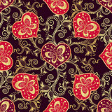 Valentine seamless dark pattern with purple hearts