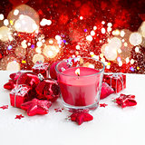 christmas  red  candle with snow