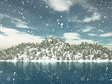 3D winter landscape with Christmas trees