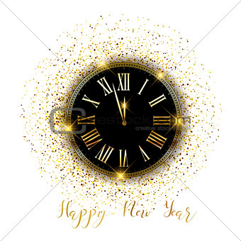 Gold confetti Happy New Year background