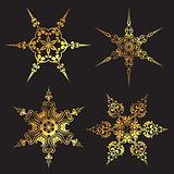 Golden snowflake designs