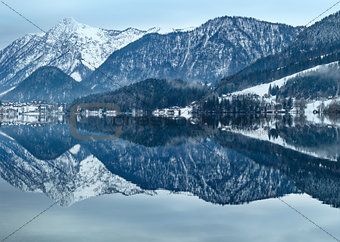 Alpine winter lake (Grundlsee, Austria).