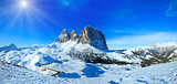 Sunshiny winter mountain panorama.