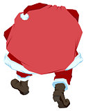 Santa Claus carries big bag with gifts. Back view