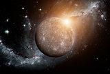 Planet Mercury. Space background.