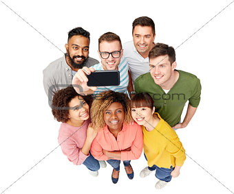group of people taking selfie by smartphone