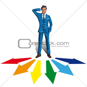 A man in a suit making a choice