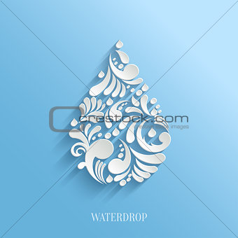 Abstract Floral Water Drop on Blue Background.