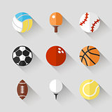 Sport balls icon set - vector white app buttons