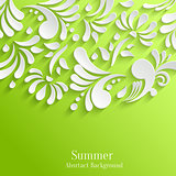 Abstract Green Background with 3d Floral Pattern