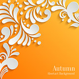 Abstract Orange Background with 3d Floral Pattern