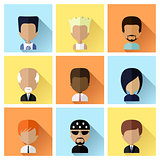 Set of Men Faces Icons in Flat Design