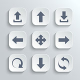 Arrows icon set - vector white app buttons