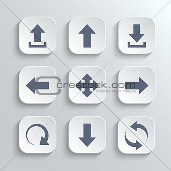 Arrows icon set - vector white app buttons